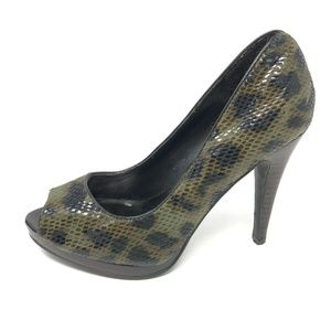 Nine West Peep Toe Heels Snakeprint 5